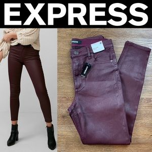 NEW EXPRESS HIGH WAISTED COATED STRETCH ANKLE JEAN